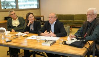 Foto: Cecília Bastos/Jornal da USP  Fernando Paixão, Marisa Midori Deaecto, Max Butlen e Edmir Perrotti