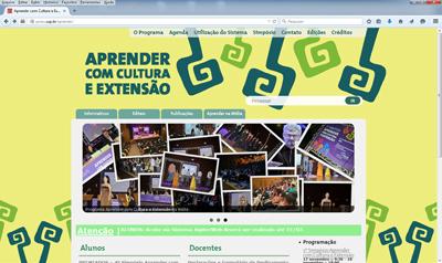 Página Eletrônica do Programa Aprender com Cultura: inscrições para o simpósio devem ser feitas via internet.  Foto: Divulgação / PRCEU